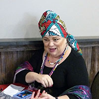 photo of fortune teller with head wrap