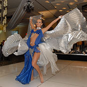 belly dancer in blue and silver costume