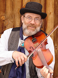 western male fiddler with violin