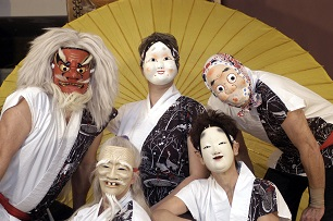 costumed asian maked musicians