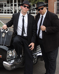 two blues brothers with sunglasses
