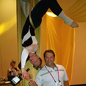champagne aerialist serving a guest