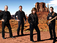 three male musicians and female singer in black attire standing in desert