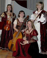 four renaissance costumed female  musicians