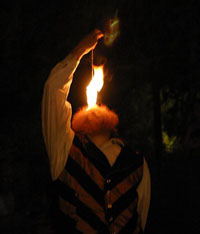 male fire eater with beard
