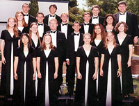 nineteen costumed male and female Holiday Choir