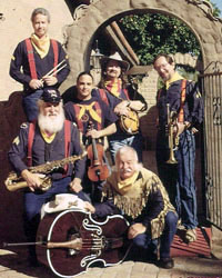 six costumed male musicians holding instruments