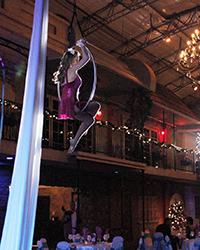 aerialist in hoop at large event