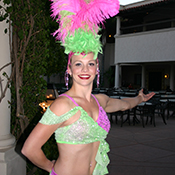female Mardi Gras greeter