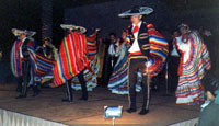 six ballet folklorico dancers in costume
