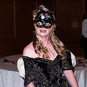 beautiful masquerade greeter in costume