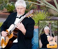 male guitarist in tuxedo