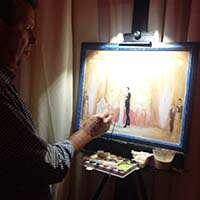 photo of live wedding portrait painter
