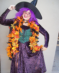 costumed Halloween witch